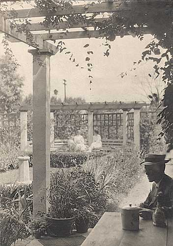 Garden at the Home of George Ball , Vintage silver print, ca. 1905.