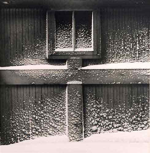 Snow on Garage Door [also titled: Haags Alley, Rochester], Vintage silver print, 1960.