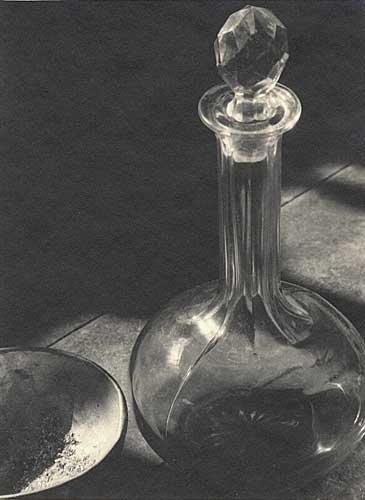 "Untitled [Glass, Decanter and Bowl], Vintage ""Parmelian"" silver print, 1929."