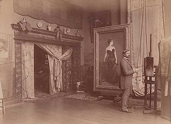 John Singer Sargent [1856-1929] in His Studio with the Painting of Madame X, Albumen print, 1886.